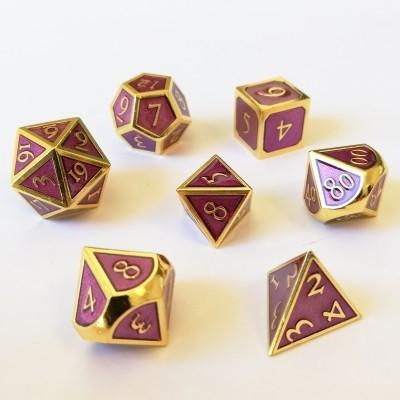 Dés et compteurs Set de 7 Des - Metal - Steampunk Or/Violet