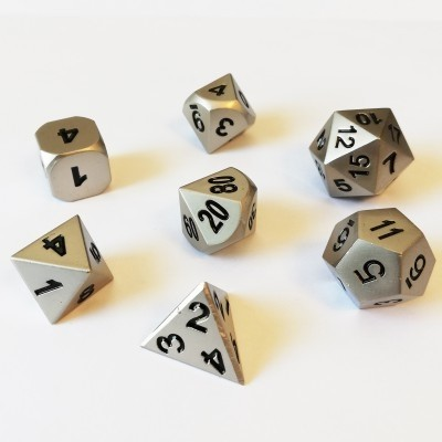 Dés et compteurs  Set de 7 Des - Metal - Couleur Argent