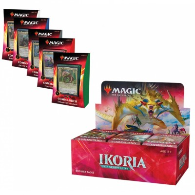 Offres Spéciales Magic the Gathering Ikoria Lair of Behemoths - Super Pack : Boite VO + 5 Decks Commander 2020 VO