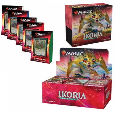 Offres Spéciales Magic the Gathering Ikoria Lair of Behemoths - Mega Pack : Boite VO + 5 Decks Commander 2020 VO + Bundle VO