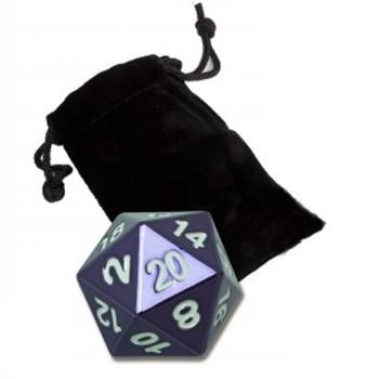 Dés  Dé 20 Faces - 20mm - Dé Métal violet à l'unité avec sa sacoche