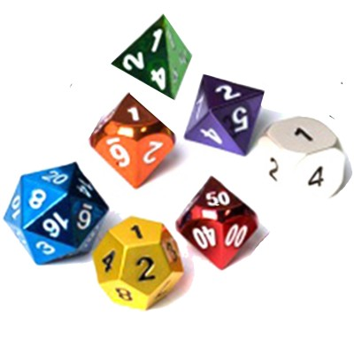 Dés  Metal Dice 20mm - Set de 7 dés - Gem Color