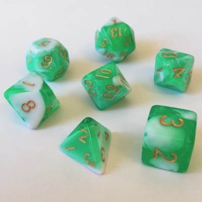 Dés  Set De 7 Dés - Role Playing Dice Set (Marbré Vert / Blanc)