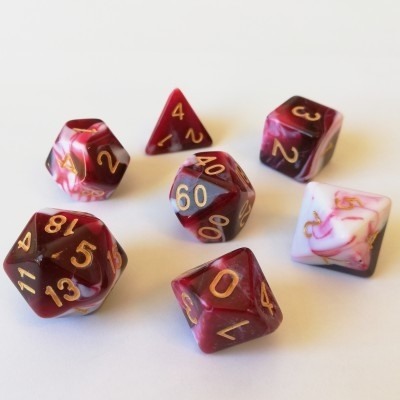 Dés  Set De 7 Dés - Role Playing Dice Set (Marbré Rouge / Blanc)