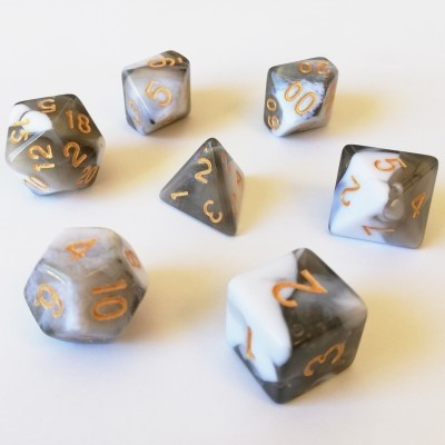 Dés  Set De 7 Dés - Role Playing Dice Set (Marbré Noir / Blanc)