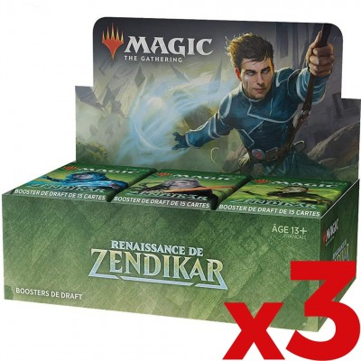 Boite de Boosters Magic the Gathering Renaissance de Zendikar - 36 Boosters de Draft - Lot de 3 boites