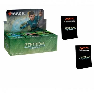 Offres Spéciales Magic the Gathering Zendikar Rising - Super Pack : Boite VO + 2 Decks Commander VO