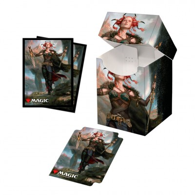 Boite de rangement illustrée Magic the Gathering Commander Legends - Deck Box 100+ avec sleeves - V2 - Jeska, Thrice Reborn