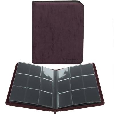 Portfolio  A4 - Collection Premium - ZIPPERED SUEDE - 20 pages de 9 cases (360 cartes recto-verso) -  Amethyst (Marron)