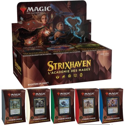 Offres Spéciales Magic the Gathering Strixhaven : l'Académie des Mages - Super Pack : Boite VF + 5 Decks Commander VF