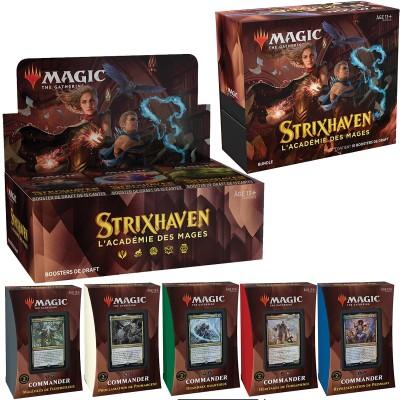 Offres Spéciales Magic the Gathering Strixhaven : l'Académie des Mages - Mega Pack : Boite VF + 5 Decks Commander VF + Bundle VF
