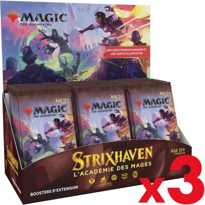 Boite de Boosters Magic the Gathering Strixhaven : l'Académie des Mages - 30 Boosters d'Extension - Lot de 3