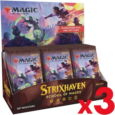 Boite de Boosters Magic the Gathering Strixhaven: School of Mages - 30 Set Boosters - Lot de 3
