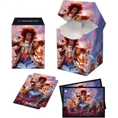 Boite de rangement illustrée Magic the Gathering Pack Strixhaven - Deck Box 100+ avec Sleeves - Zaffaï, conducteur de foudre