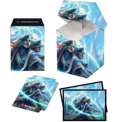 Boite de rangement illustrée Magic the Gathering Pack Strixhaven - Deck Box 100+ avec Sleeves - Adrix et Nev, jumemages