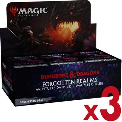 Boite de Boosters Magic the Gathering Forgotten Realms : Aventures dans les Royaumes Oubliés - 36 Boosters de draft - Lot de 3