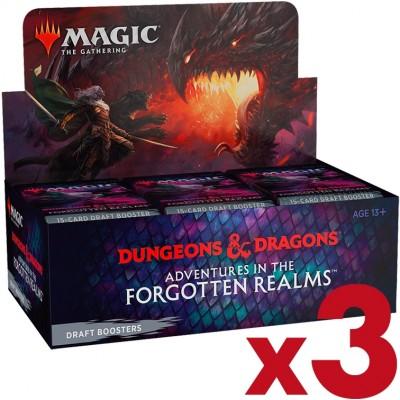 Boite de Boosters Magic the Gathering Adventures in the Forgotten Realms - 36 Boosters de draft - Lot de 3