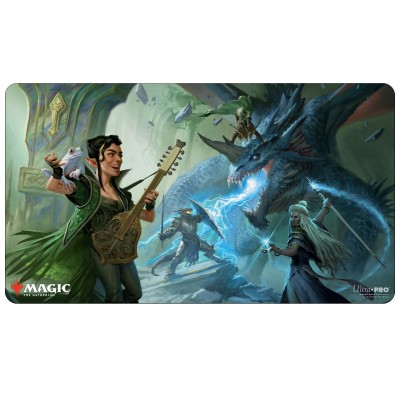 Tapis de Jeu Magic the Gathering Adventures in the Forgotten Realms - Playmat - The Party Fighting Blue Dragon - 60cm x 34cm